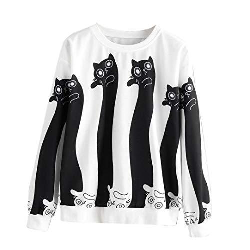 Big Clearance! Women Long Sleeve Cat Print Sweatshirt Daoroka Ladies Cotton O-Neck Autumn Winter Warm Jumper Pullover Tops Fashion Causal Loose Cute Blouse T Shirt -