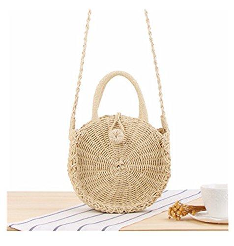 New Hot Handmade Bohemian Beach Bali Bags Summer Vocation Rattan Wicker Weaving Women Shoulder Circular Bags Beige