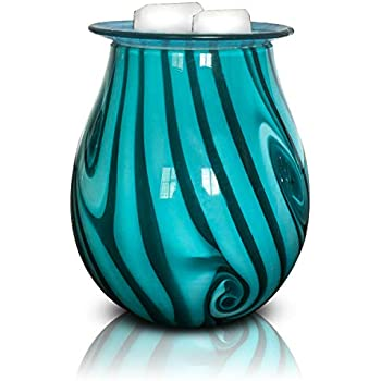 Heung Hoi Electric Wax Warmer Art Glass Scented Candle Warmer Tart Burner for Wax Melts Fragrance Oil Night Light Aroma Decorative Lamp for Gifts & Decor, Home, Office, Bedroom, Living Room (BW)