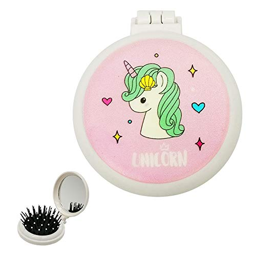 Mini Hair Brush Collapsible Unicorn Mirror Brush Kids Girls Birthday Gifts Portable Pop Up Hairbrush for Travel School Purse Pocket (Pink)