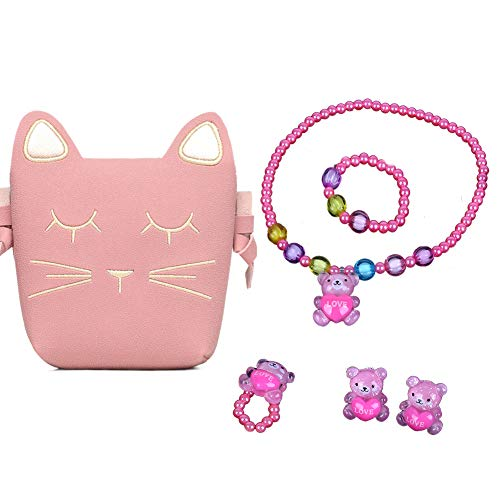Children Play Jewelry Set, Little Toddler Girls Pink Cat Purse Toys for Kids