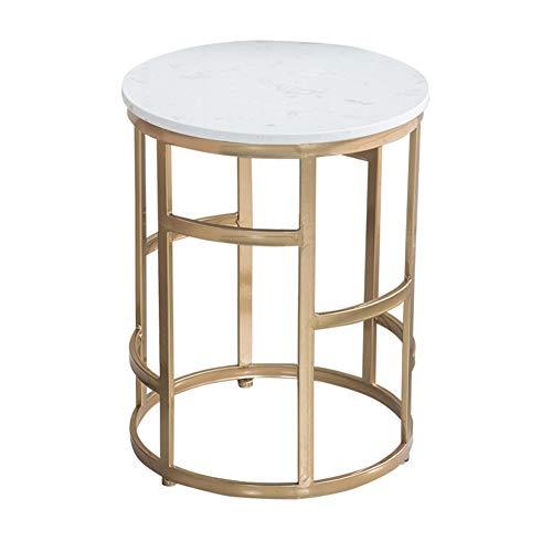 Mesas de cafe,Las mesas de cafe,Mesas de Centro,Mesa velador,Nordico Minimalista Moderno Hierro Forjado marmol Dorado salon Mesa Auxiliar (Color : Blanco)