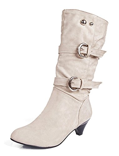Aisun Women's Stylish Cool Round Toe Buckle Strap Dress Chunky Medium Heel Mid Calf Boots Shoes Beige 8.5 B(M) US by Aisun
