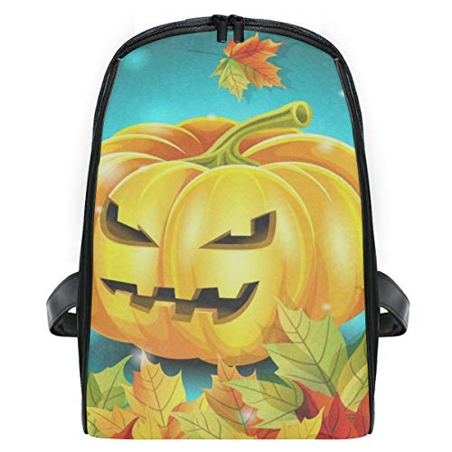 Backpack Halloween Pumpkin And Autumn Leaves Personalized Shoulders Bag Classic Lightweight Daypack]()