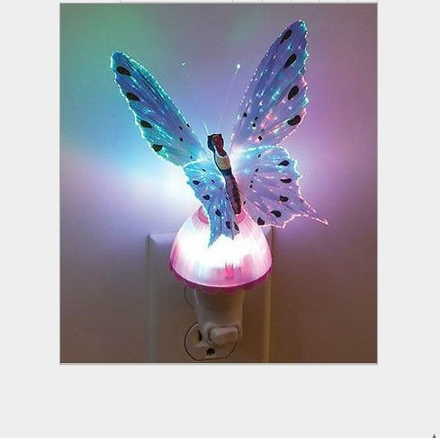 COFFLED Put Fiber Optic purple Butterfly LED Color Change NightLight Decor Lamp Gift Toy purple
