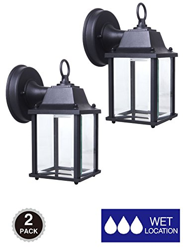 CORAMDEO Outdoor Wall Lantern, Exterior Porch Light with One E26 Base, Outdoor Rated, Black Powder Coat Finish, Clear Glass, - Location Glasses Usa