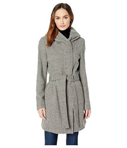 - Calvin Klein Women's Double Face Wool Coat with Oversized Hood and Belt Closure Grey Medium