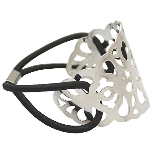 Silver Plated Q&Q Fashion Filigree Curved Lace Pony Tail Head Hair Elastic Dress Cuff Band (Fancy Pony)