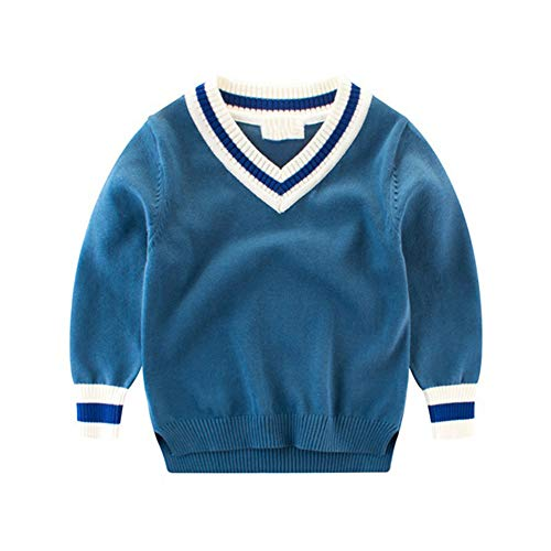 MZjJPN V-Neck Boys Sweater Long Sleeve Sweater for Boys Knitted Warm Autumn Pullover Kids Children Clothes Blue 4T