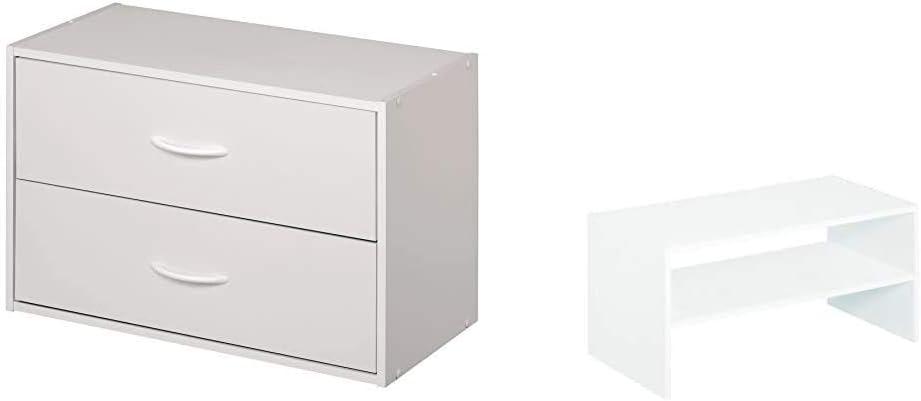 ClosetMaid 1566 Stackable 2-Drawer Horizontal Organizer, White & 8993 Stackable 24-Inch Wide Horizontal Organizer, White