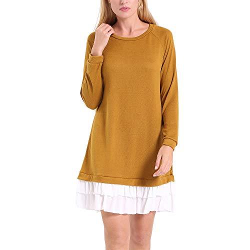 ENIDMIL Womens Round Neck Long Sleeve Dress Contrast Color Patchwork Casual Dress(Khaki,M)