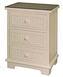 beautiful white wicker bedroom furniture | Amazon.com: Cottage White Wicker and Wood 3 Drawer ...