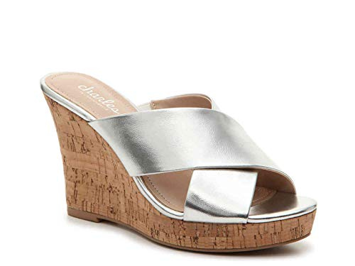 CHARLES DAVID Charles Women's Latrice Wedge Sandal Silver Metallic Smooth