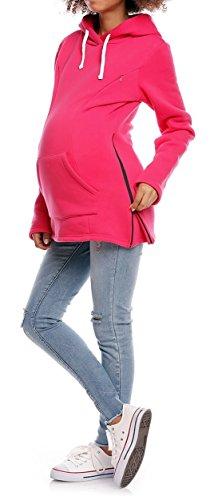 Happy Mama. De Las Mujeres Maternidad Enfermería sudadera con capucha ajustable sudadera cremalleras. 356P fucsia