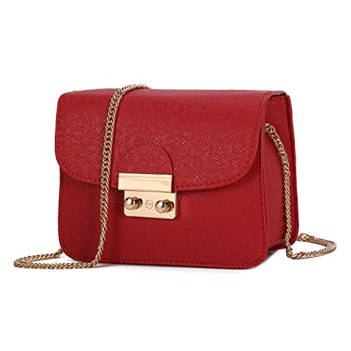 for Casual Shoulder Body Clutches Wristlet Cross Handbags Red Shell Blue Small Chain Leather PU Bags Bag Women Utwn5O