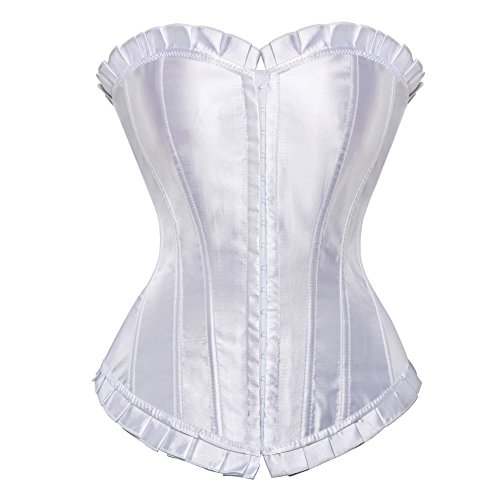 b3abcac0d4 Frawirshau Women s Lace Up Boned Plus Size Overbust Corset Bustier  Bodyshaper Top Natural Waist 24