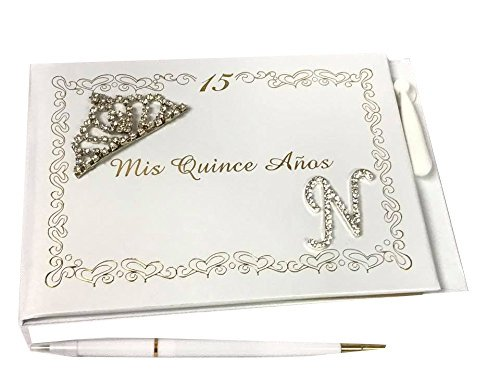 Mis Quince Anos Guest Book Libro De Firmas with Tiara Decoration and Monogram Letter N Signature Book]()