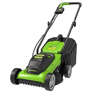 Greenworks Tondeuse à batterie G24LM33 (Li-Ion 24V 33cm largeur de coupe jusqu'à 250qm² 30L bac de ramassage d'herbe 3…