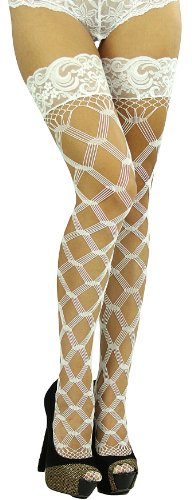 ToBeInStyle Women's Fishnet Multi Fence Net Thigh Hi w/ Lace Top Band and Silicon Grip Accessory Long Above Knee Stocking - One Size - (Thigh High Fishnets)