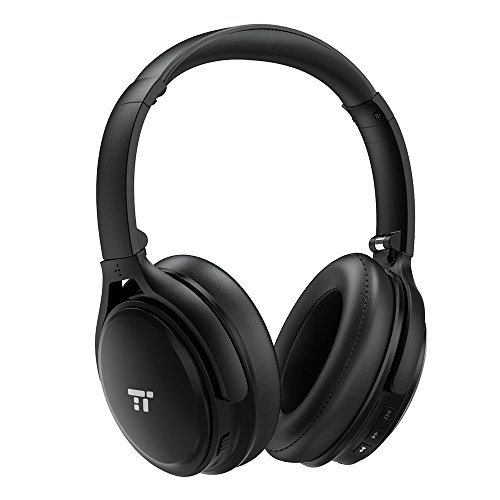 : TaoTronics Active Noise Cancelling Bluetooth Headphones, Wireless Over Ear Headset, Foldable Earphones with Powerful Bass (Dual 40 mm Drivers, 25 Hour Playtime, cVc 6.0 Noise-Cancelling Built-In Mic)