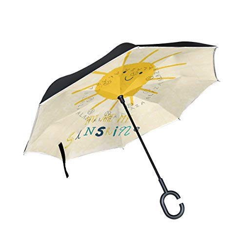 All agree Reverse Umbrella You are My Sunshine Customized Inverted Umbrella Reversible for Golf Car Travel Rain Outdoor Black