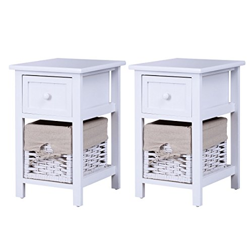 Giantex 2Pcs 2 Tier Nightstand Bedroom End Table Bedside Organizer Wood with Drawer & Basket, (2 Drawer Wicker Nightstand)