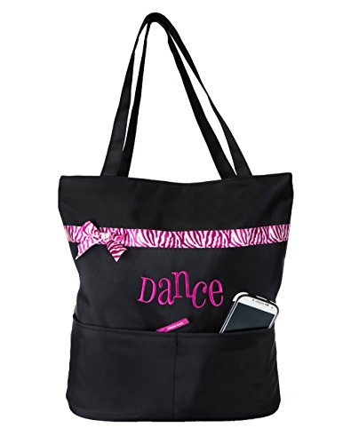 Dance Embroidered Tote (Horizon Dance 6221 Pizazz Embroidered Black Dance Tote Bag - Pink)