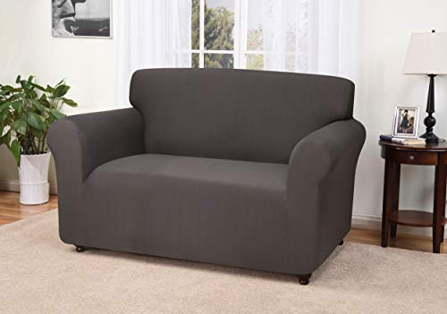 ey Grey Loveseat Slipcover, Solid ()