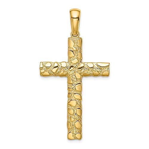14k Yellow Gold Nugget Cross Pendant ()