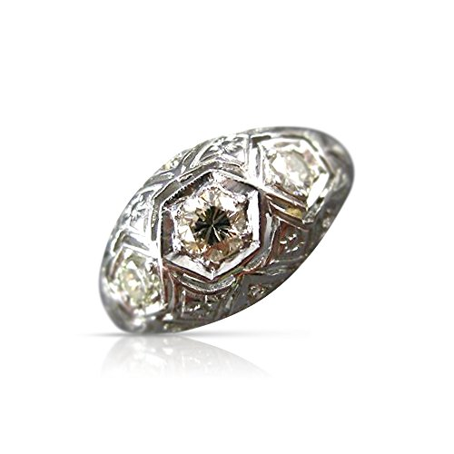 Milano Jewelers .40CT OLD MINE EURO CUT DIAMOND 14KT WHITE GOLD 3D FILIGREE RING #20185 ()