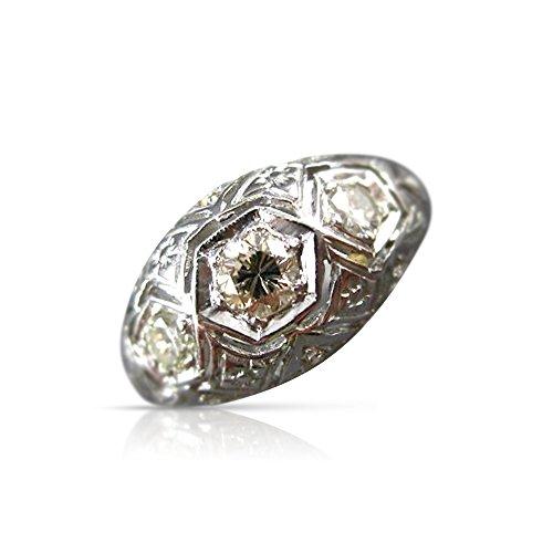 Milano Jewelers .40CT OLD MINE EURO CUT DIAMOND 14KT WHITE GOLD 3D FILIGREE RING #20185