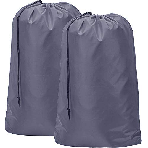 "HOMEST 2 Pack Nylon Laundry Bag, 28""×40"" Travel Drawstring Bag, Rip-Stop Large Hamper Liner, Machine Washable, Grey"