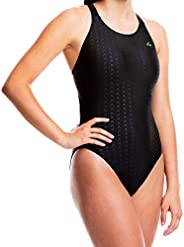 Flow Accelerate Swimsuit for Girls - Size 23 to 34 One Piece Swim Suit for Practice and Competition in Black,