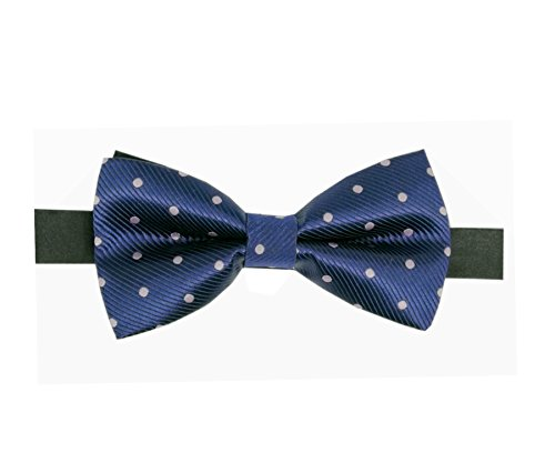 Men's Polka Dot Jacquard Wedding Party Self Bow Tie (Navy Blue/Light pink) -