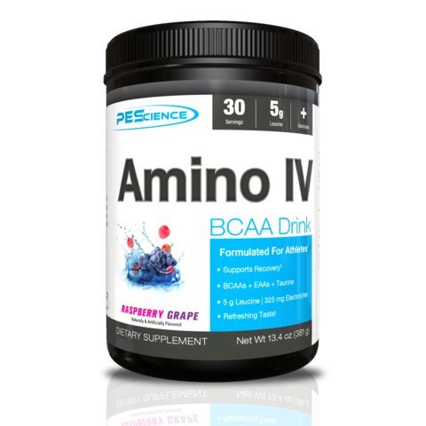 PEScience Amino IV, Raspberry Grape, 30 servings, BCAA with EAAs and Electrolytes