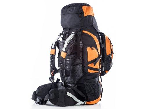 Skandika Makalu 85+15 - Zaino da trekking ed escursionismo con daypack, da 15 litri, colore nero/arancione