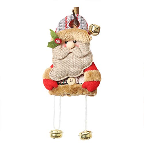 Merry Christmas Burlap Doll Pendant Cartoon Old Man Bells Puppet Hanging Scene Dress Up Ornaments Supply for Christmas Tree Party Wedding Decoration Gift ()