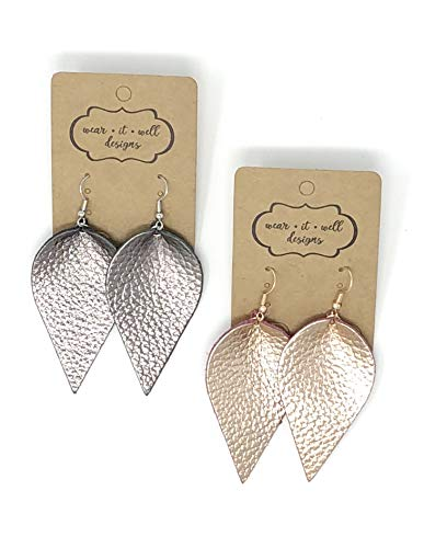 Leather Earrings/Two Pairs Leaf or Teardrop Earring/Joanna Gaines Zia Style Genuine Leather/Black & White or Gold & Silver/Diffuser Earrings for Essential Oils (Rose Gold & Gunmetal Leaf) ()