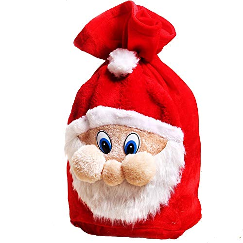 (Big Size Xmas Santa Pattern Gift Sack, MAIYU Plush Fabric Treat Candy Bag Pouch Wrap with Drawstring for Christmas Gifts)