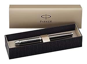 Parker IM - Bolígrafo roller (acabado en cromo, incluye recambio de tinta), color marrón y plateado