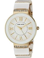 Anne Klein Womens AK/2832WTGB Swarovski Crystal Accented Gold-Tone and White Ceramic Bracelet Watch