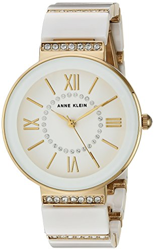 Anne Klein Women's AK/2832WTGB Swarovski Crystal Accented Gold-Tone and White Ceramic Bracelet Watch