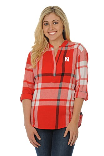 - UG Apparel NCAA Nebraska Cornhuskers Adult Women Plaid Tunic, Medium, Red/Black/White