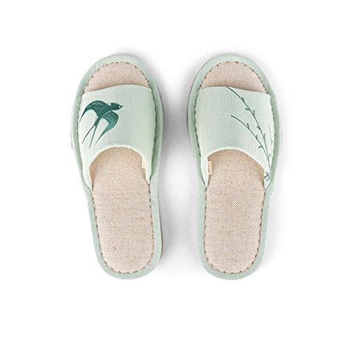 Zapatillas DWW de Algodón Bordadas con Zapatos de Mujer de Primavera y Verano Verde