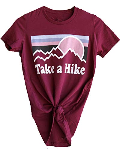 Enmeng Womens Casual Take A Hike Letter Print T-Shirt Short Sleeve Hiker Tee Tops (M, Wine Red) (Crinkle Wash T-shirt)
