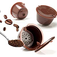 BRBHOM 3 Pack Dolce Gusto Refillable Coffee Capsules Reusable Coffee Pods Filters Compatible with Nescafe Dolce Gusto Brewers (Brown)