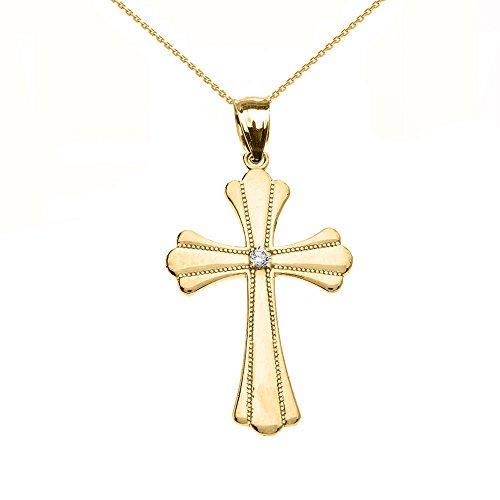 Collier Femme Pendentif 14 Ct Or Jaune Solitaire Diamant Poli Élevé Milgrain Croix (Livré avec une 45cm Chaîne)