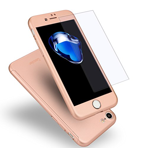 iPhone 7 Case, Coocolor 360 Degree All-Around Ultra Thin Full Body Coverage Protection Dual Layer Hard Slim Case + Tempered Glass Screen Protector for iPhone 7-Rose Gold