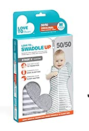 Love to Dream Swaddle UP 50/50, Gray, Medium, 13-18.5 lbs