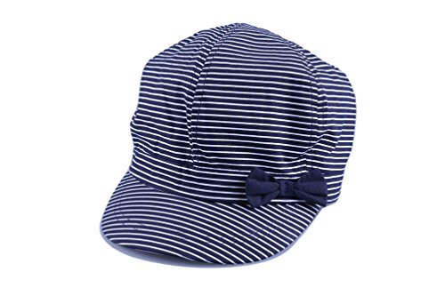 Bienzoe Girl's Cotton Striped Bowtie Peaked Sun Hat 4/5 -